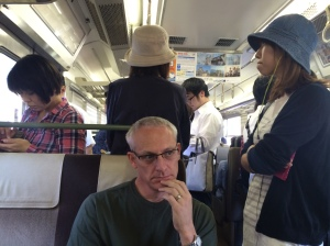 on the train to Iwakuni