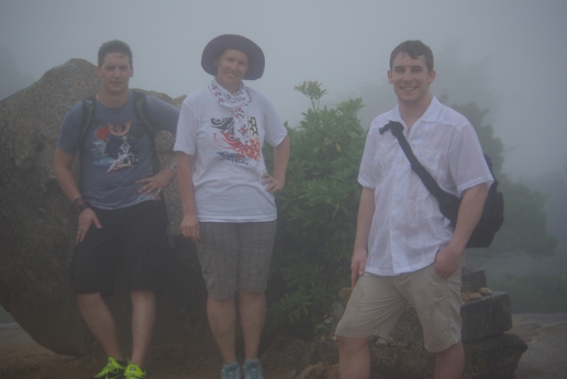 """We are in the middle of asending Mt. Misen. """"A little hike"""" Rich said that wasn't that little. Yes that's a tropical rainstorming us."""