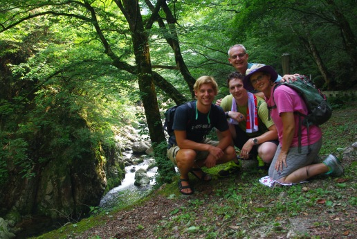 We are at our stopping point of hiking Sandan-kyo. Greg learned and kept Rich in check. :)